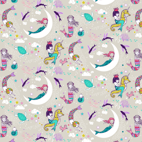 Mermaid Lullaby MICRO (Candy) fabric by nouveau_bohemian on Spoonflower - custom fabric
