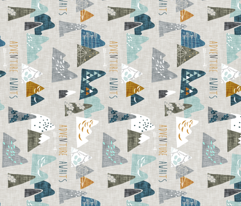 Adventure Awaits (earth) REGULAR (ROTATED) fabric by nouveau_bohemian on Spoonflower - custom fabric