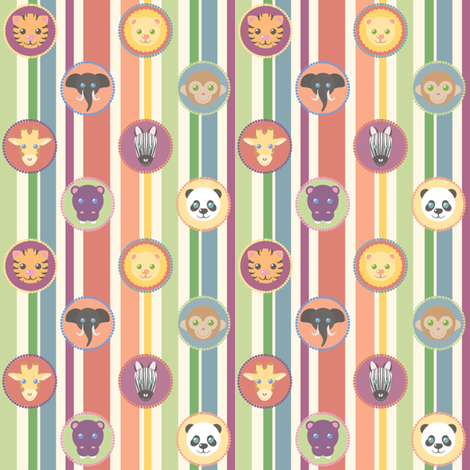 Zoo Pattern Stripes fabric by juliematthews on Spoonflower - custom fabric
