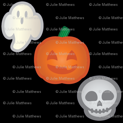 Halloween Retro-Pop Icons - Ghost, Skull, Pumpkin