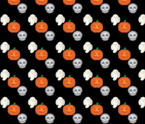 Halloween Retro-Pop Icons - Ghost, Skull, Pumpkin fabric by juliematthews on Spoonflower - custom fabric