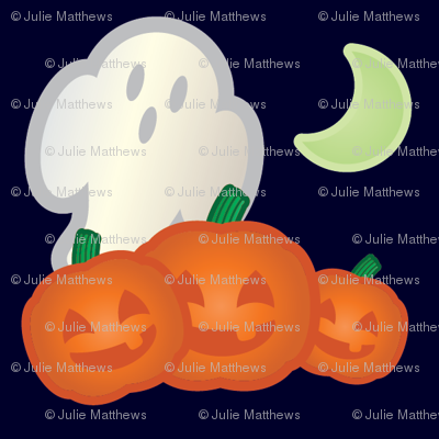 Halloween Retro-Pop Ghost and Pumpkin Scene