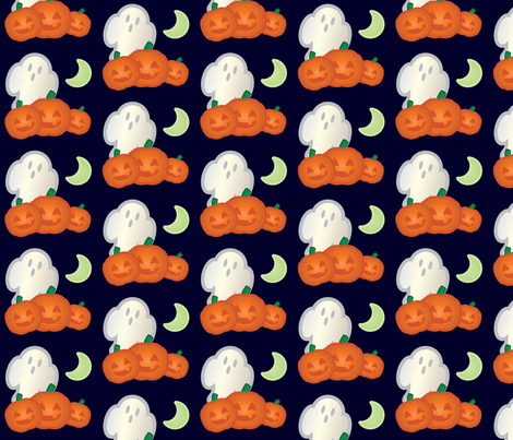 Halloween Retro-Pop Ghost and Pumpkin Scene fabric by juliematthews on Spoonflower - custom fabric