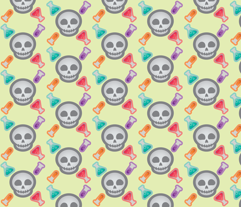 Halloween Retro-Pop Skulls and Potions fabric by juliematthews on Spoonflower - custom fabric