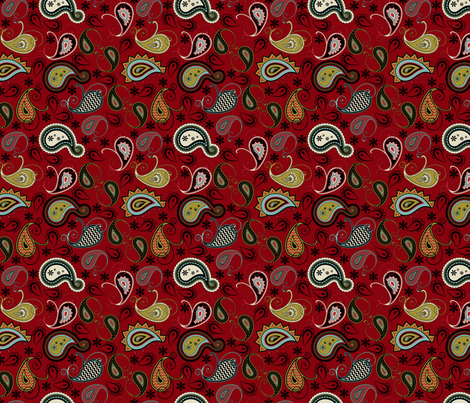 Burgundy Paisley fabric by cherie on Spoonflower - custom fabric