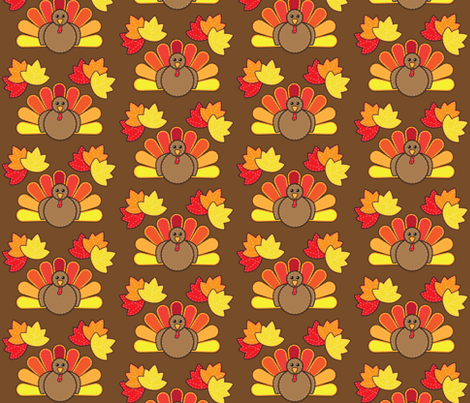 Turkey and Leaves for Thanksgiving fabric by juliematthews on Spoonflower - custom fabric