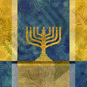 Hanukiah Menorah Stand Large - 9 - gold blue