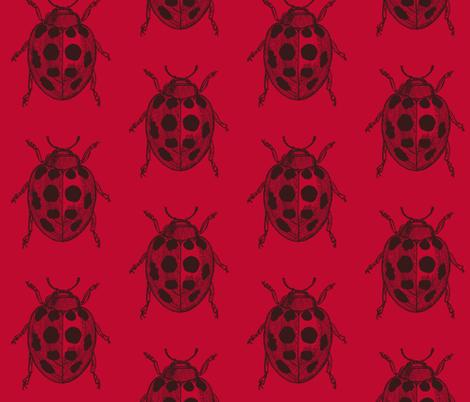 LadyBug, LadyBug - Red  fabric by lisakling on Spoonflower - custom fabric