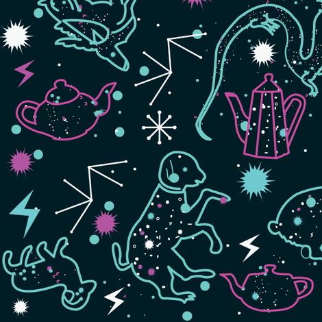Animals flying on tea constellations fabric by misslife on Spoonflower - custom fabric