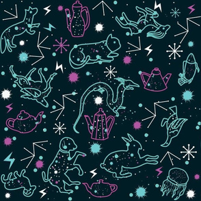 Animals flying on tea constellations