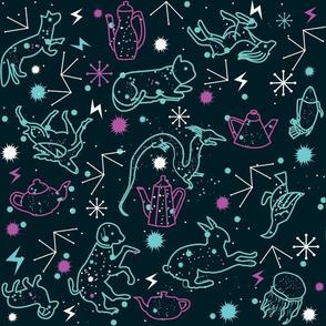 Animals flying on tea constellations