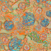 Batik Orange and Blue Sealife