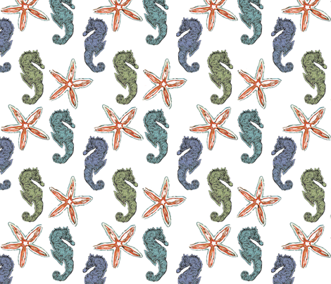 Seahorse & Starfish Dreams fabric by lauriekentdesigns on Spoonflower - custom fabric