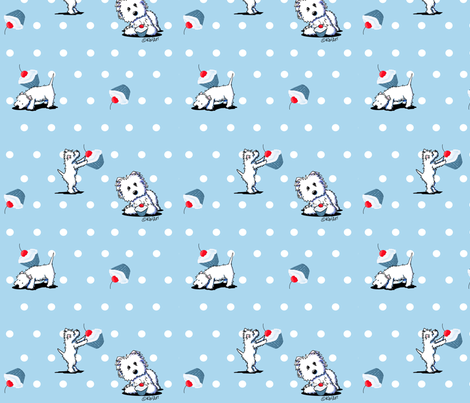 Cupcake Westies fabric by kiniart on Spoonflower - custom fabric