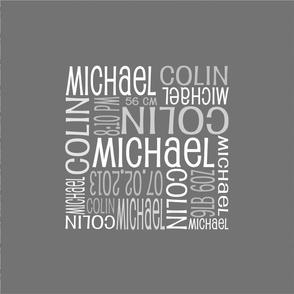 Personalised Birth Cushion Panel - Grey Plain