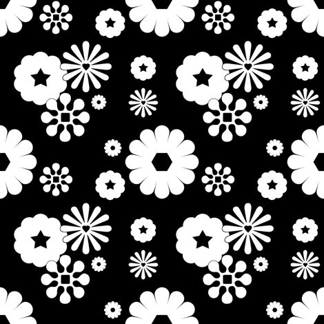 Large Cluster Flowers inversed fabric by carbonatedcreations on Spoonflower - custom fabric