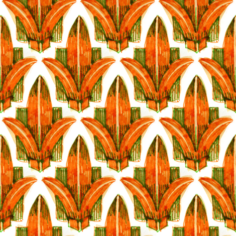 Fleur de Lis - Orange fabric by crumpetsandcrabsticks on Spoonflower - custom fabric