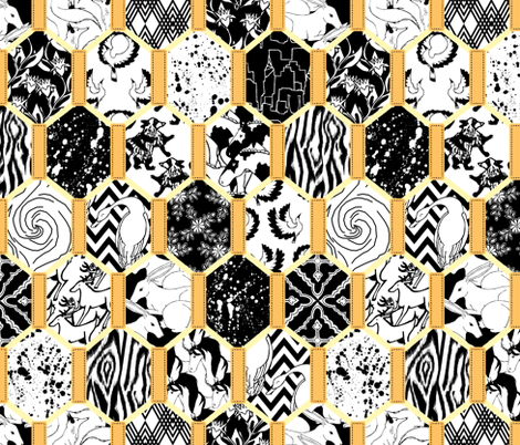 Black and Gold Quilt fabric by pond_ripple on Spoonflower - custom fabric
