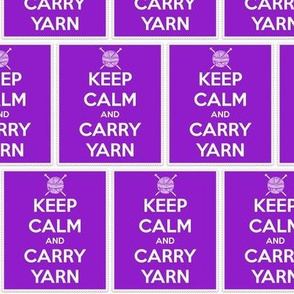 Keep Calm Carry Yarn Knitting - purple panel