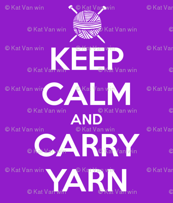 Keep Calm Carry Yarn Knitting - purple solid