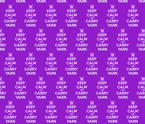 Keep Calm Carry Yarn Knitting - purple solid fabric by katvanwin on Spoonflower - custom fabric