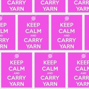 Keep Calm Carry Yarn Crochet - panel fuschia