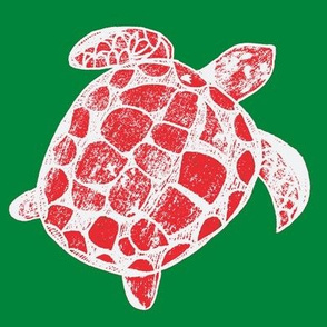 Loggerhead Sea Turtle Pink in a green ocean