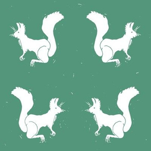 White Squirrels on Green