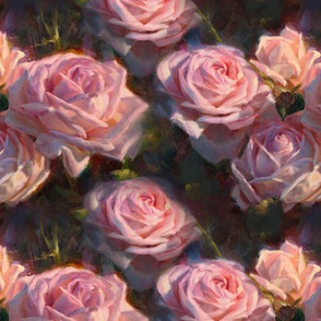 English Roses in the Flower Garden - Traditional French Country Pink Floral Pattern