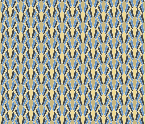 Tan + blue art deco diamonds by Su_G (now smaller @ 350 ppi) fabric by su_g on Spoonflower - custom fabric