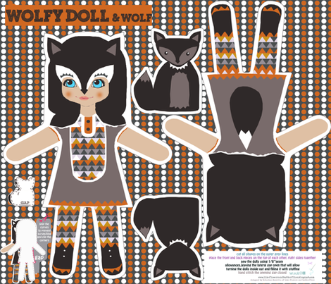 wolfy doll DIY cut and sew template fabric by katarina on Spoonflower - custom fabric