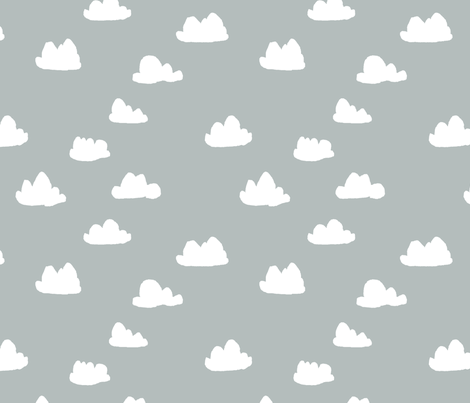 clouds // gray cool scandinavian trendy clouds fabric in grey for minimal baby nursery fabric by andrea_lauren on Spoonflower - custom fabric