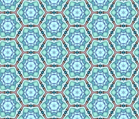 Teal Blue Flowers & Brown Lace fabric by lauriekentdesigns on Spoonflower - custom fabric