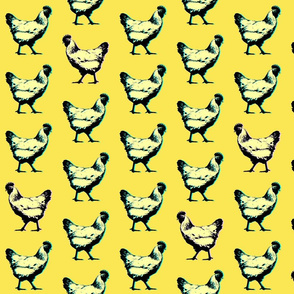 pop art chickens : yellow
