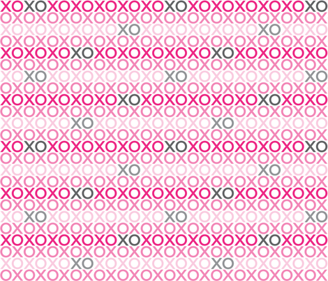 XOXO : pink + grey : small fabric by muchoxoxo on Spoonflower - custom fabric
