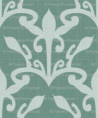lace cutout soft pine damask