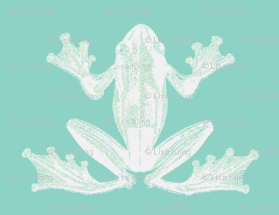 vintage frog illustration in calming green and creme