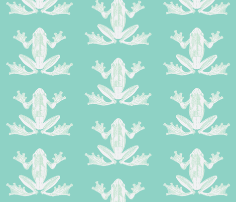 vintage frog illustration in calming green and creme fabric by lisakling on Spoonflower - custom fabric