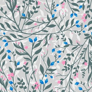 Regency Floral in Grey, Pastels Pinks