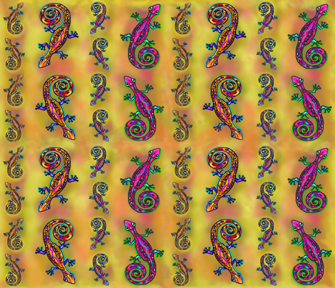 LEZARD GECKO Large Golden Yellow  fabric by paysmage on Spoonflower - custom fabric