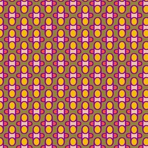 POP Foulard   -purple and orange and yellow on mustard gold