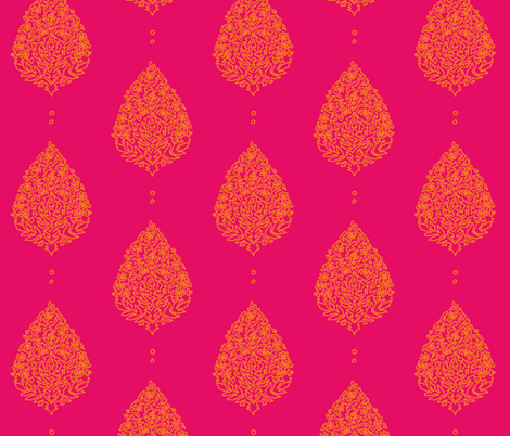 Moroccan Paisley Fushia  fabric by lisakling on Spoonflower - custom fabric