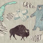 Grr.Howl.Hoot.Snort. (LARGE  aqua)