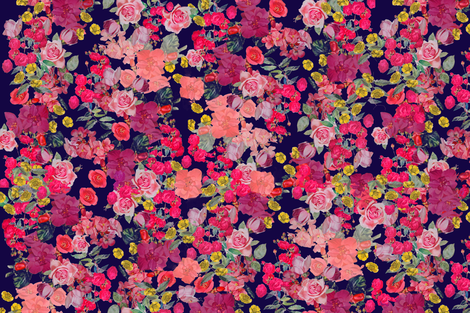 Antique Floral with Raspberry Floral fabric by theartwerks on Spoonflower - custom fabric