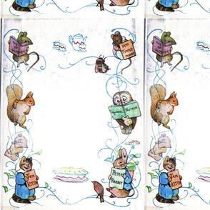 Beatrix Potter Tea towel White