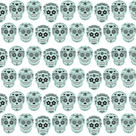 sugar skulls Dia de los Muertos fabric by allisonkreftdesigns on Spoonflower - custom fabric
