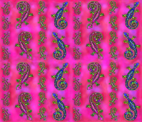 LIZARD GECKO Fushia Large fabric by paysmage on Spoonflower - custom fabric