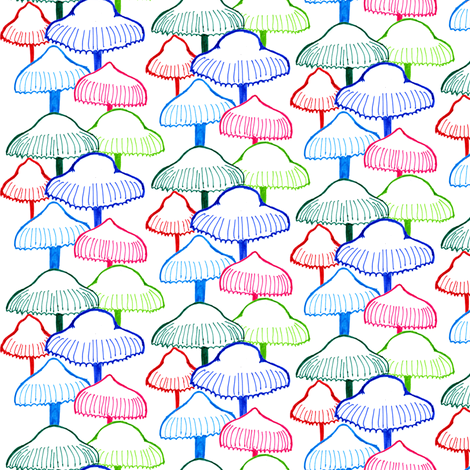 Colourful Mushroom fabric by crumpetsandcrabsticks on Spoonflower - custom fabric
