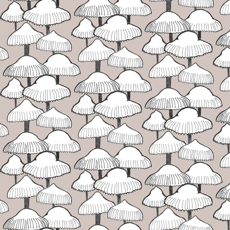 White Mushrooms fabric by crumpetsandcrabsticks on Spoonflower - custom fabric