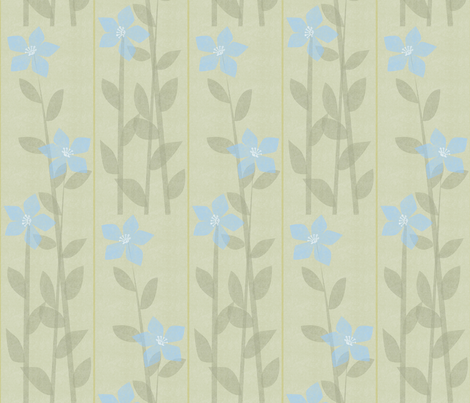 Offset Blue Floral Panel fabric by glimmericks on Spoonflower - custom fabric